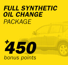 Full Synthetic Oil Change Package +450 bonus points