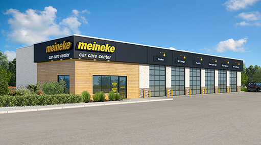 Meineke store front with a Meineke logo