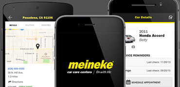 Meineke mobile app and various screen pages