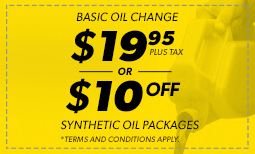 $19.95 Oil Change, $10 Off Synthetic Coupon
