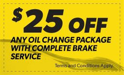 $25 Off Any Oil Change Package With Complete Brake Service Coupon