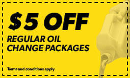 $5 Off Regular Oil Change Packages Coupon