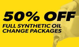 50% Off Full Synthetic Oil Change Packages Coupon