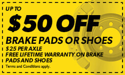 $50 off Brake Pads or Shoes + Lifetime Warranty Coupon