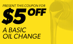 $5 Off Basic Oil Change - Window 1 2019 Coupon
