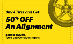Buy 4 Tires and Get 50% Off an Alignment Coupon