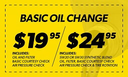 $19.95/$25.95 Oil Change Coupon