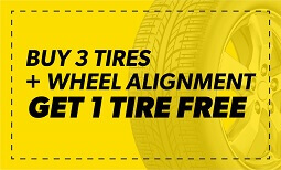 Buy 3 Tires + Wheel Alignment Get 1 Free Coupon