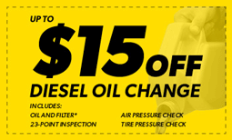$15 Off Diesel Oil Change Coupon
