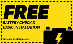 Free Battery Check & Basic Installation Coupon