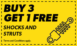 Buy 3, Get 1 Free Shocks and Struts Coupon