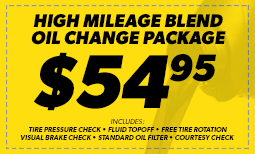 $54.95 High Mileage Blend Oil Change Coupon