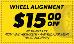 $15.00 Off Wheel Alignment Coupon