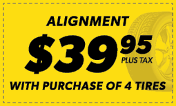 $39.95 Alignmentw/ the Purchase of 4 Tires Coupon