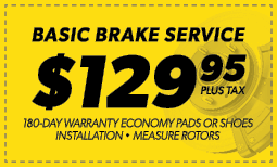 $129.95 Basic Brake Service Coupon