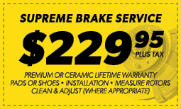 $229.95 Supreme Brake Service Coupon