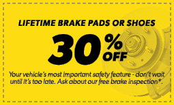 30% Off Lifetime Brake Pads or Shoes Coupon