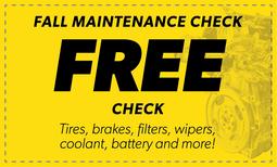 Free Fall Maintenance Check Coupon