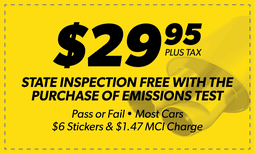 Free State Inspection with Emissions Test Coupon