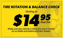 $14.95 Tire Rotation & Balance Check Coupon