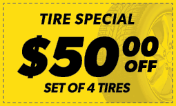 $50 Off the Purchase of 4 Tires Coupon