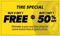 Buy 3 Tires, Get 1 Free OR Buy 1, Get 1 50% Off Coupon