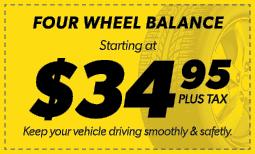 $34.95 Four Wheel Balance Coupon