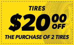 $20 Off the Purchase of 2 Tires Coupon