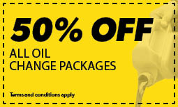 50% Off All Oil Change Packages Coupon